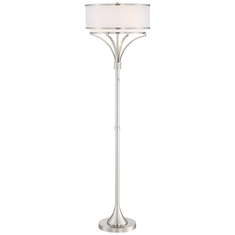 Possini Euro Candice Brushed Nickel Dual Shade Floor Lamp