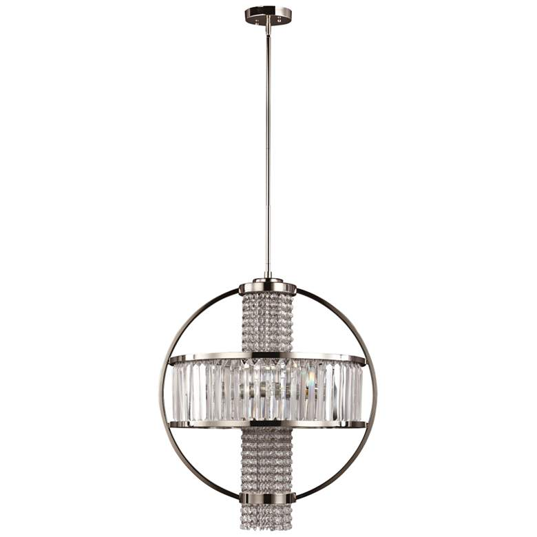 "Zeev Metropolis 22""W Polished Nickel Crystal Pendant Light"