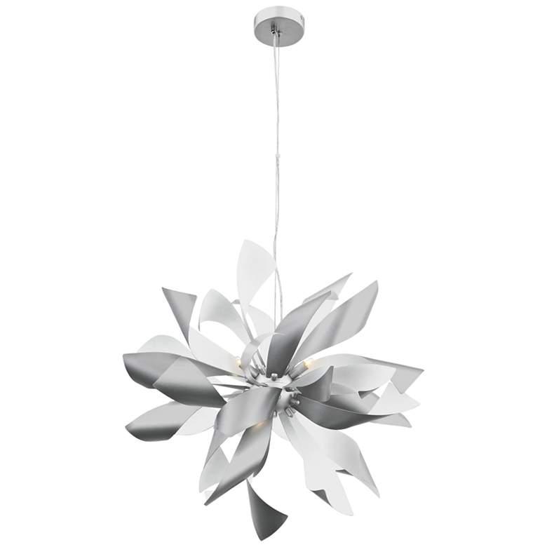 "Zeev Bloom 24"" Wide Silver and Matte White Pendant Light"