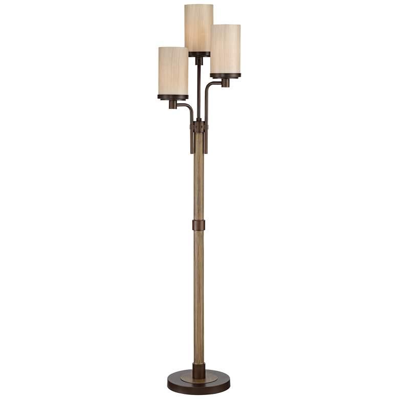 Astoria Faux Wood and Bronze 3-Light Tree Floor Lamp