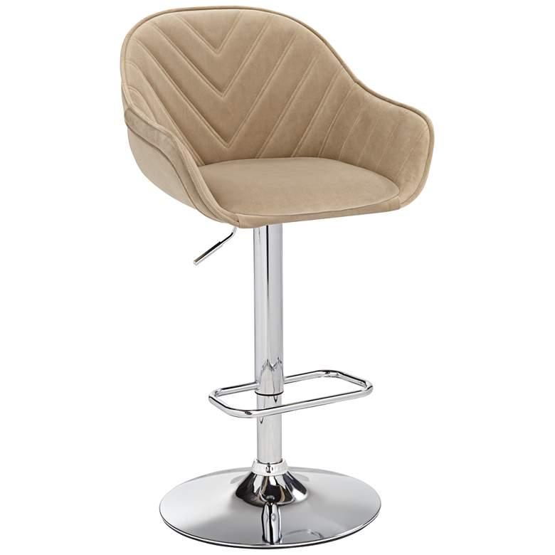 Alta Beige Tufted Adjustable Barstool