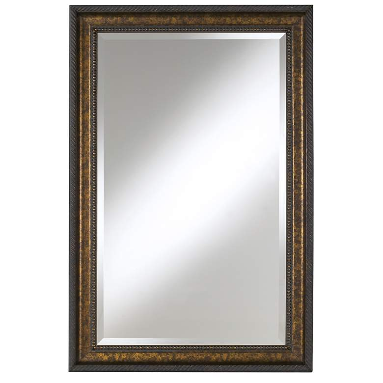 """Uttermost Sinatra Florentine Bronze 32"""" x 49"""" Wall Mirror"""