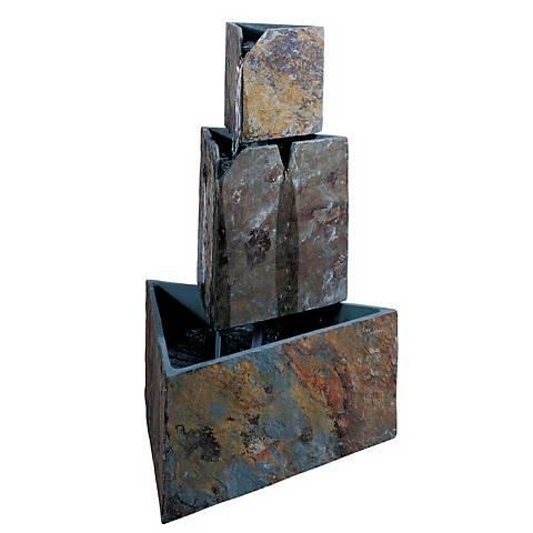 """Stacked Triangles Indoor - Outdoor 30"""" High Floor Fountain"""