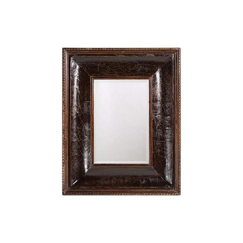 """Distressed Faux Leather Rectangular 41"""" High Wall Mirror"""
