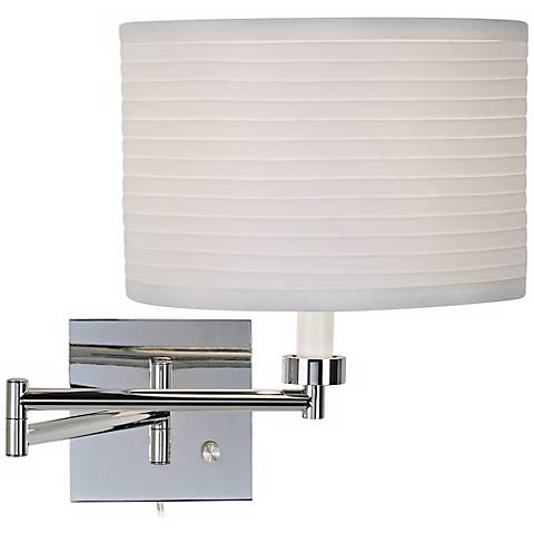Ribbed Shade Chrome Finish Plug-In Swing Arm Wall Lamp