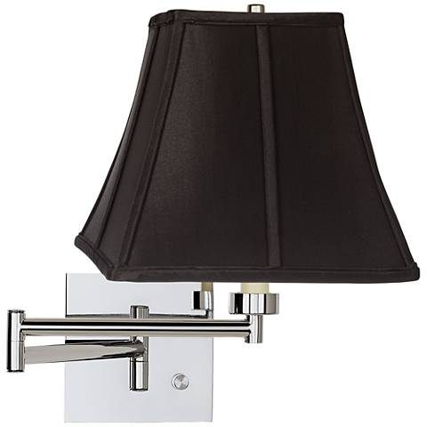 Black Square Shade Chrome Plug-In Swing Arm Wall Lamp