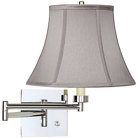 Pewter Gray Bell Chrome Plug-In Swing Arm Wall Lamp