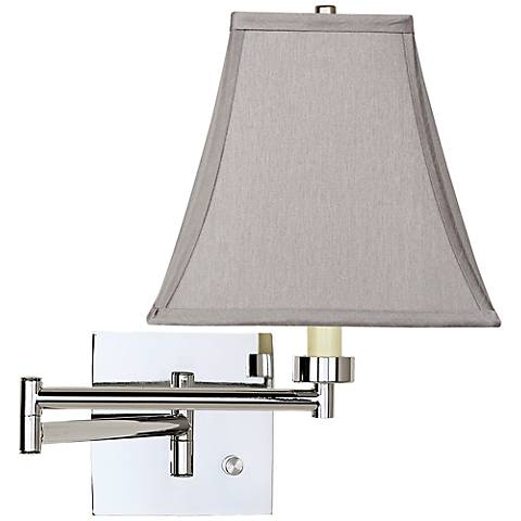 Pewter Gray Square Chrome Plug-In Swing Arm Wall Lamp