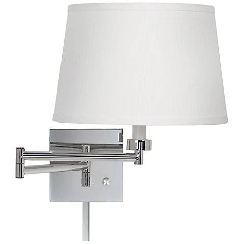 White Linen Chrome Plug-In Swing Arm with Cord Cover