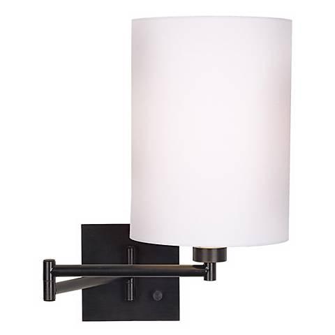 White Drum Shade Espresso Swing Arm Wall Lamp