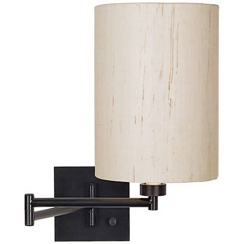 Dimmable Ivory Linen-Espresso Plug-In Swing Arm Wall Lamp