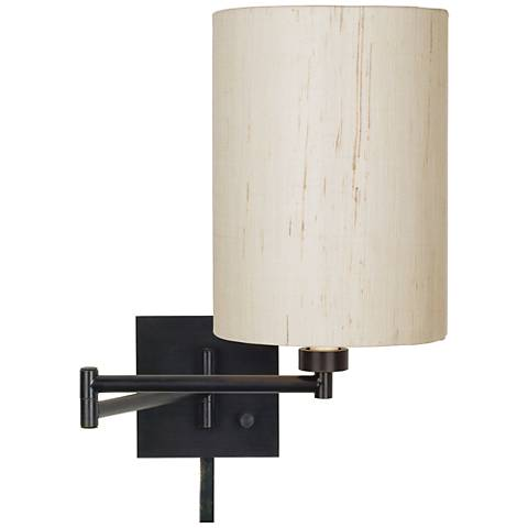 Ivory Linen Drum Espresso Plug-In Swing Arm with Cord Cover