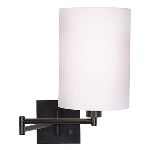 White Cylinder Shade Espresso Swing Arm Wall Lamp