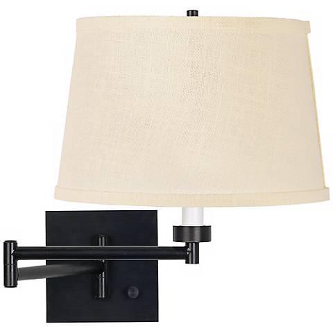 Cream Burlap Shade Espresso Plug-In Swing Arm Wall Lamp