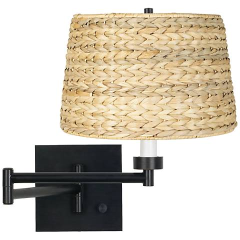 Woven Seagrass Espresso Plug-In Swing Arm Wall Lamp