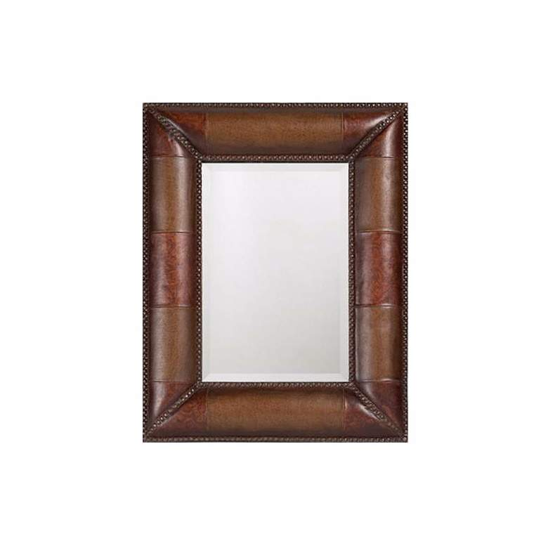 "Padded Faux Leather Rectangular 35"" High Wall Mirror"