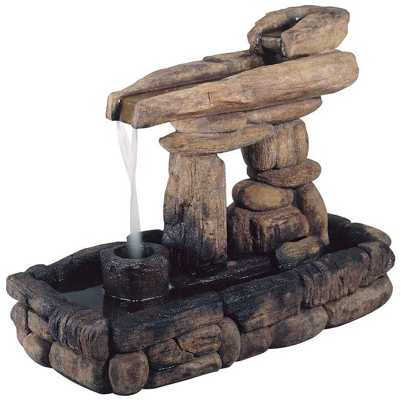 """Inukshuk Stone Formation 33"""" Wide Rustic Fountain"""