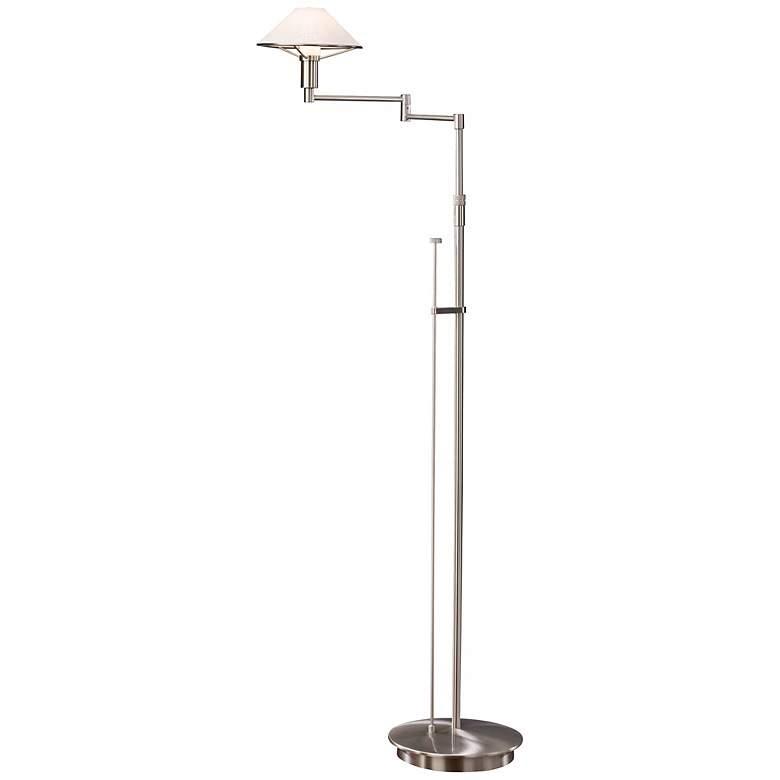 Satin Nickel with Satin White Glass Holtkoetter Floor Lamp