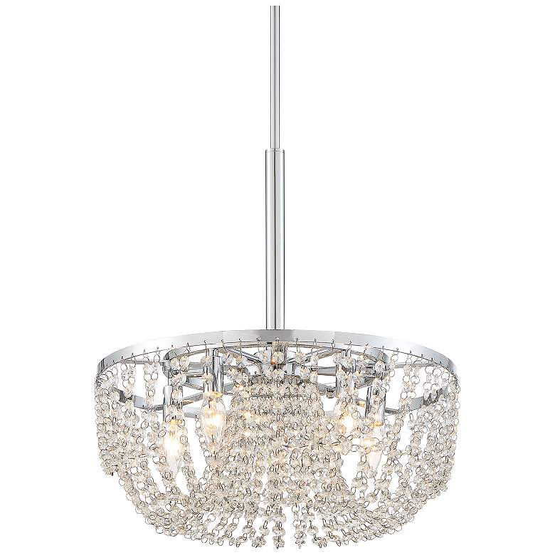 """Arden 18 1/2"""" Wide Chrome and Crystal Strands Pendant Light"""