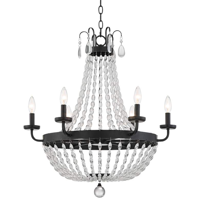 "Mirabella 26"" Wide Black and Beads 6-Light Chandelier"