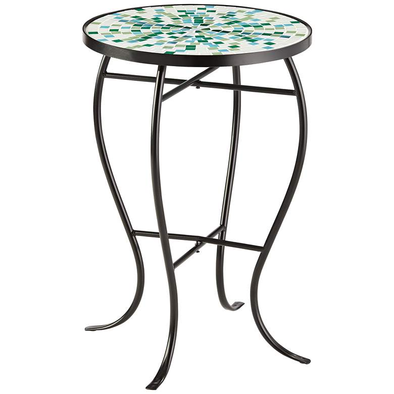 Aqua Mosaic Black Iron Outdoor Accent Table