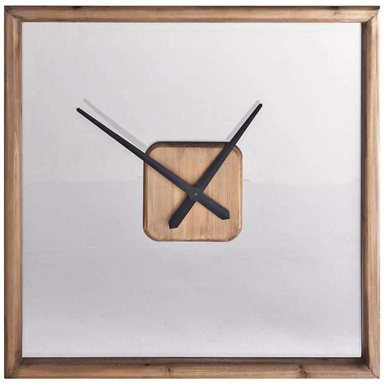 "Cooper Classics Tanner Natural Wooden 26"" Square Wall Clock"
