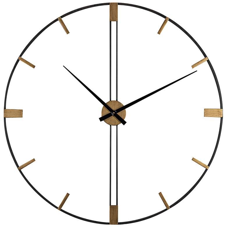 """Camden 41"""" Wide Black and Gold Modern Open Wall Clock"""