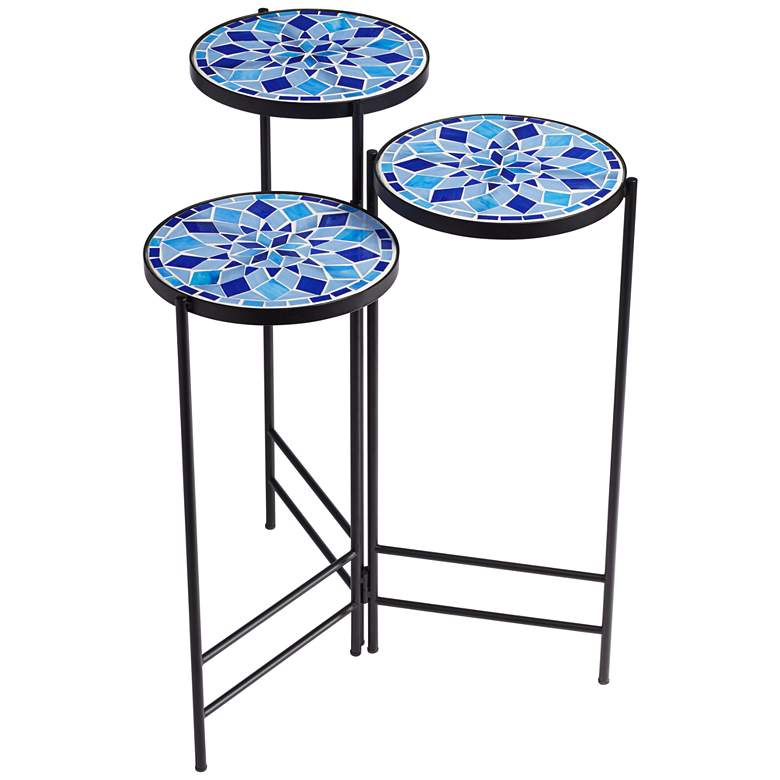 Blue Mosaic Black Iron Set of 3 Accent Tables