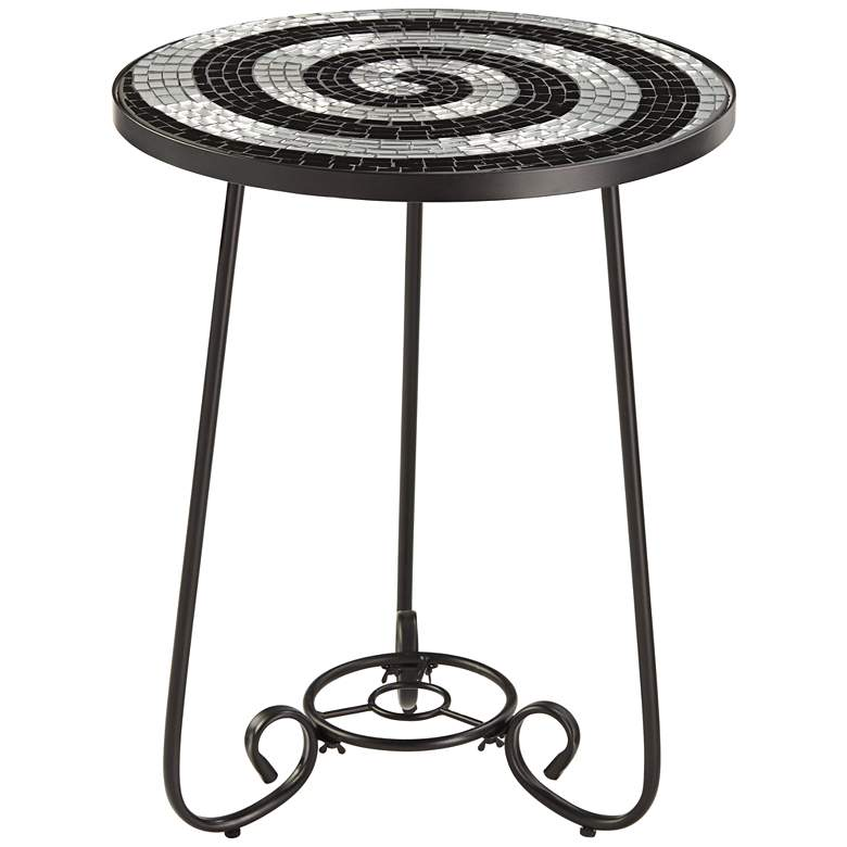 Spiral Mosaic Black Iron Outdoor Accent Table