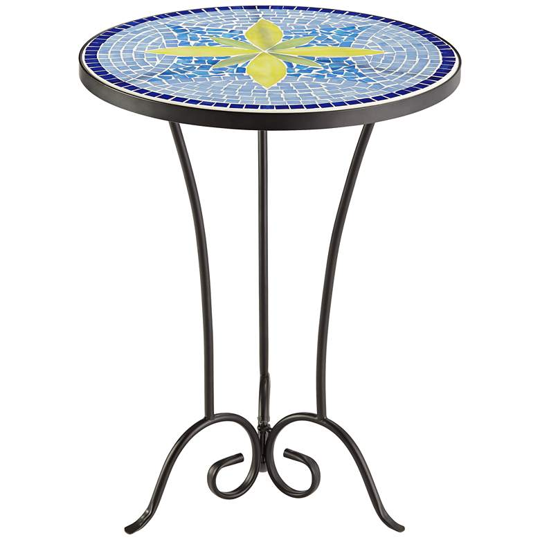 Blue Flower Mosaic Outdoor Accent Table