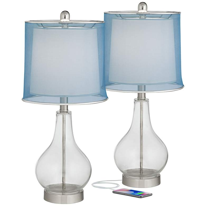 Ledger Clear Glass Blue Shade Accent USB Table Lamp Set of 2