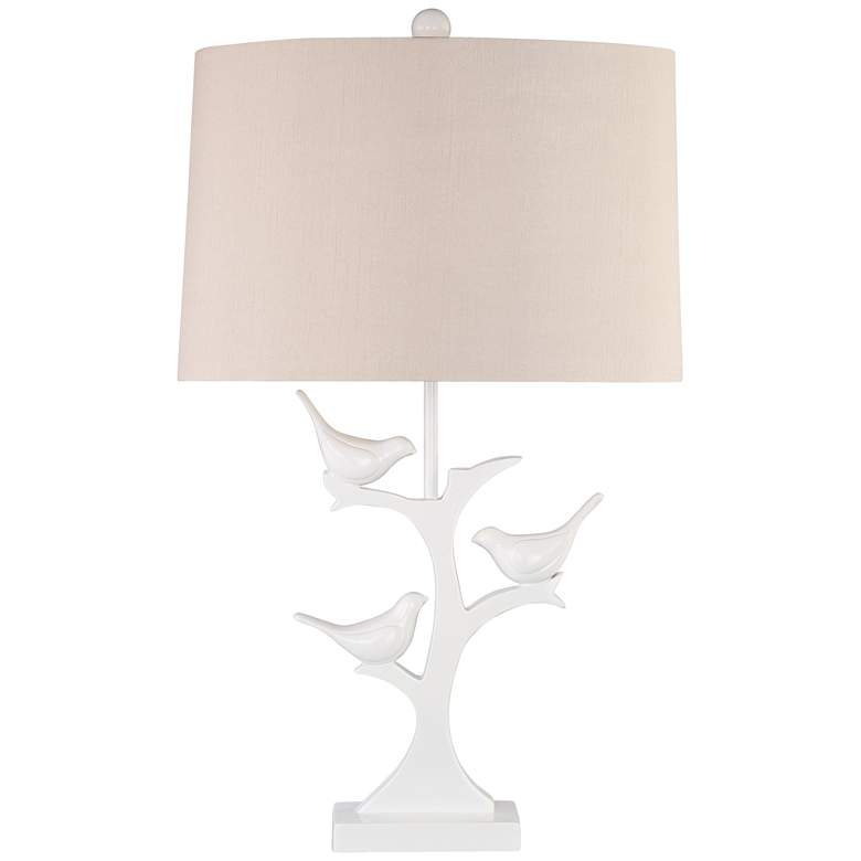 Dove Trio White Finish Bird Table Lamp