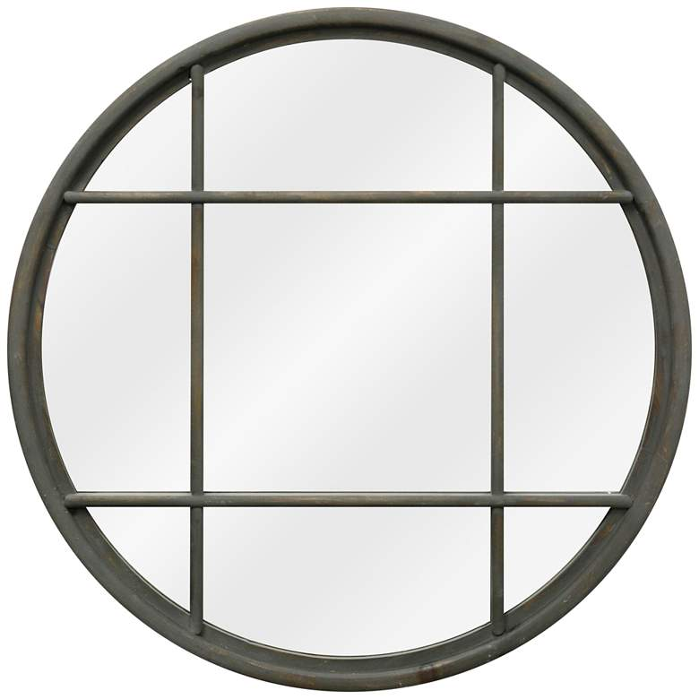 "Matte Gray Window Pane 31 1/2"" Round Wall"