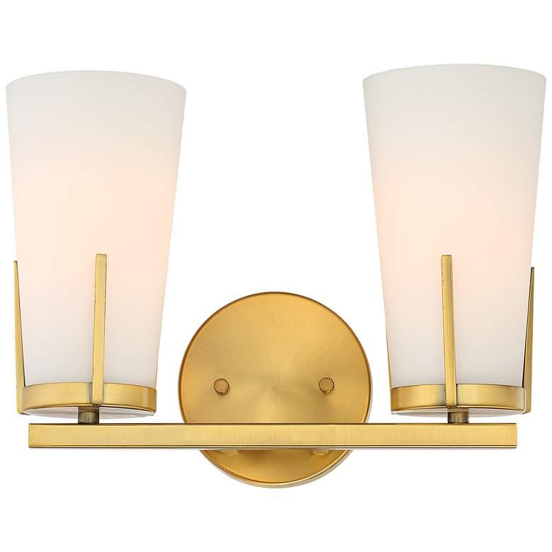 "Possini Euro Vera 9 3/4"" High Warm Brass 2-Light Wall Sconce"