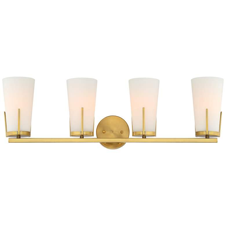 "Possini Euro Vera 32 1/4"" Wide Warm Brass 4-Light Bath Light"