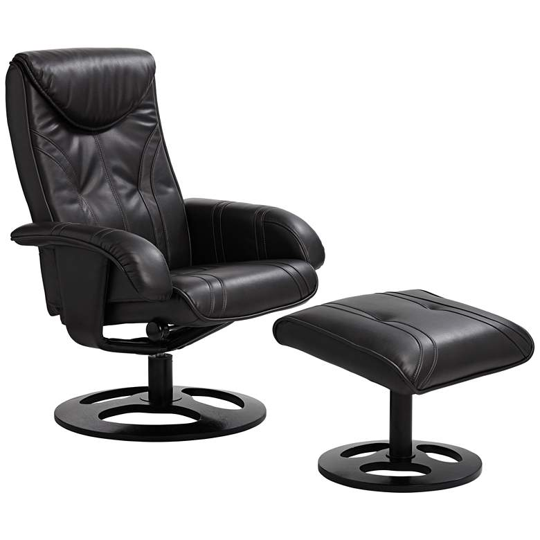 Davenport Black Leather Swivel Recliner and Ottoman