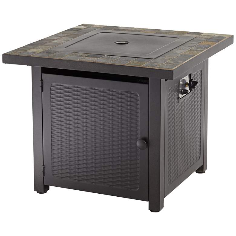"""Tahoe 30"""" Square Slate Top Gas Outdoor Fire Pit Table"""
