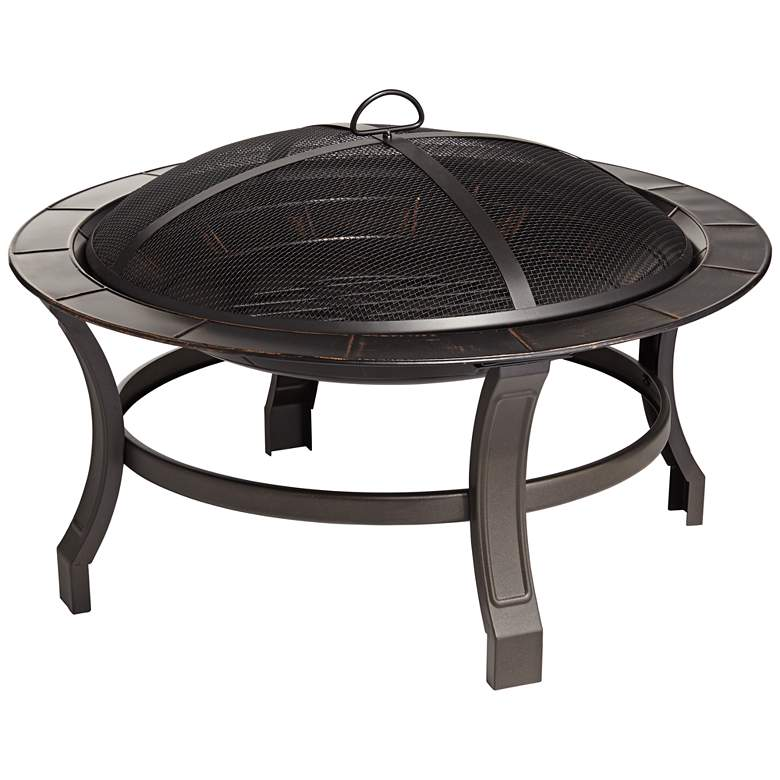 "Exeter 30"" Round Steel Bowl Outdoor Fire Pit"