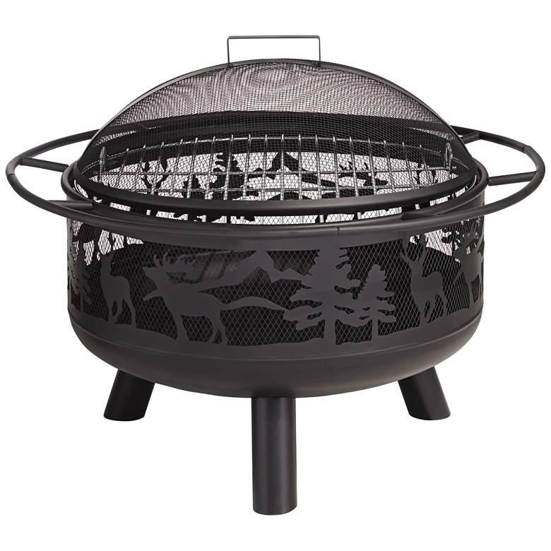 "Yukon 30"" Wide Steel Forest Animal Outdoor Fire Pit"