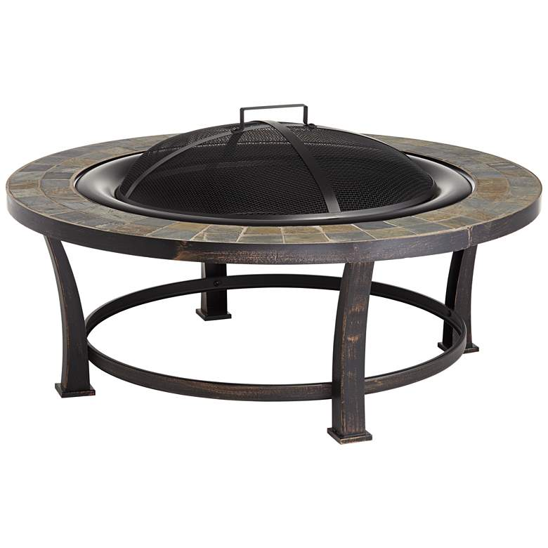 """Willapa 40"""" Wide Steel and Slate Top Outdoor Fire Pit"""