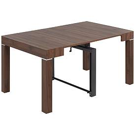 Modern Distressed Walnut 2-Leaf Extension Dining Table