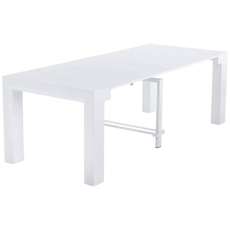 Modern Distressed White 4-Leaf Extension Dining Table
