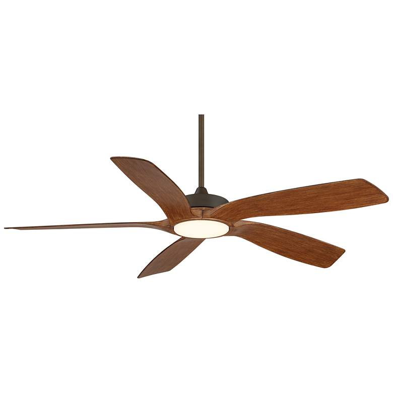 "56"" Mach 5 Oil-Rubbed Bronze and Koa LED Damp Ceiling Fan"