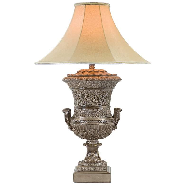 Burmesian Cordovan Brown LED Urn Table Lamp