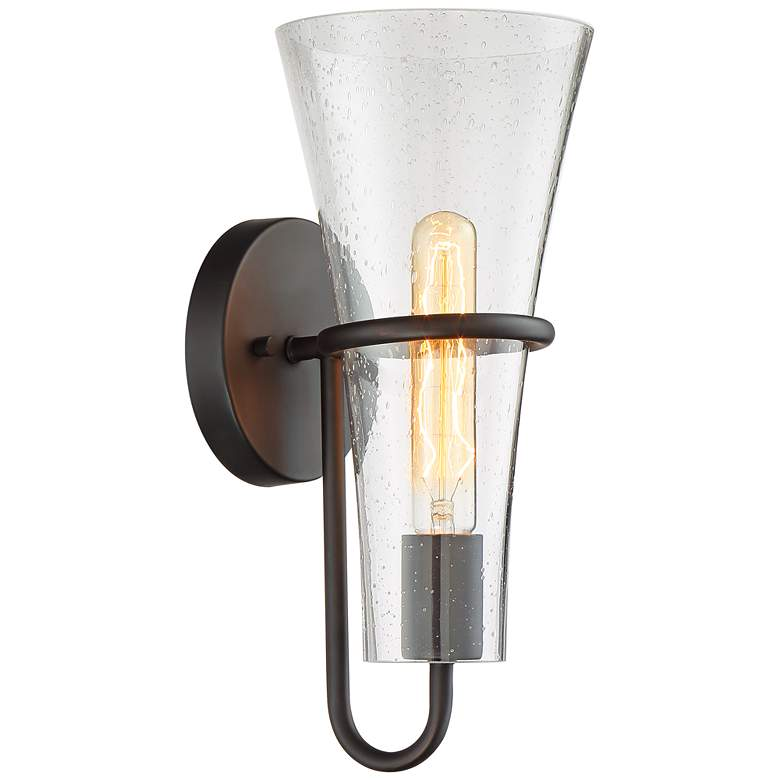 """Possini Euro Montry 14"""" High Bronze and Glass Wall Light"""