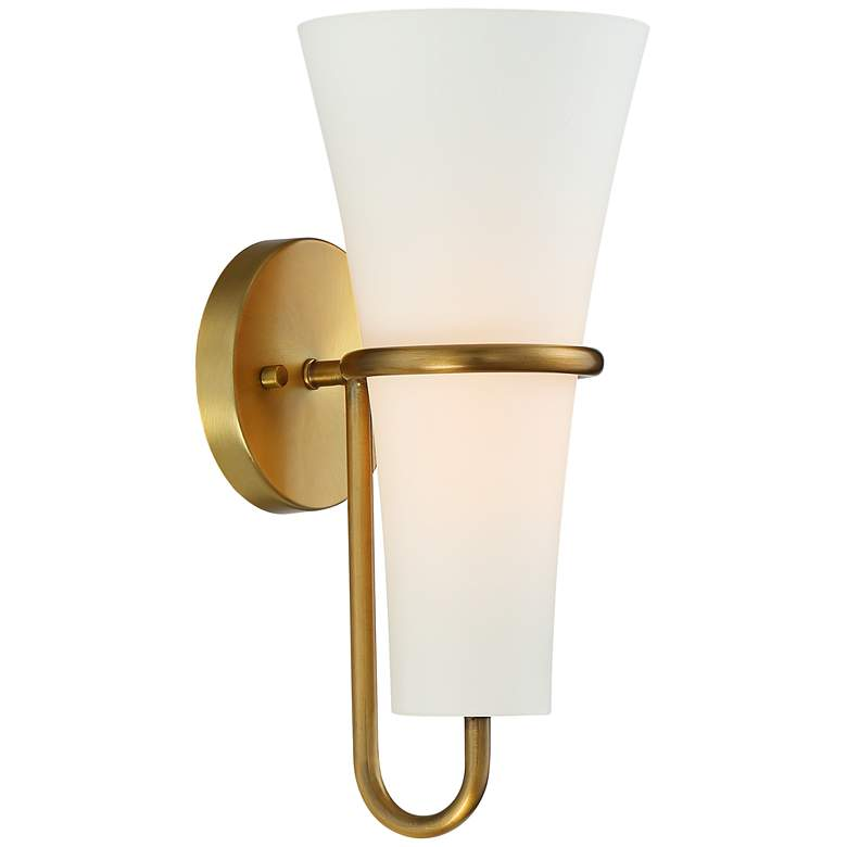 "Possini Euro Rebecca 14"" High Brass and Glass Wall Sconce"