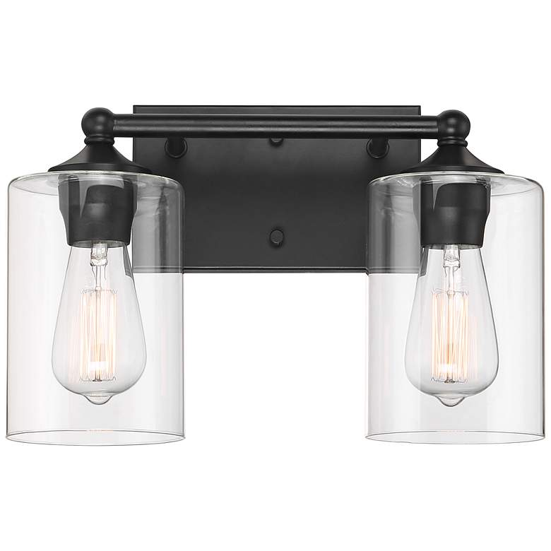 """Bellings 9 1/2"""" High Black and Glass 2-Light Wall Sconce"""