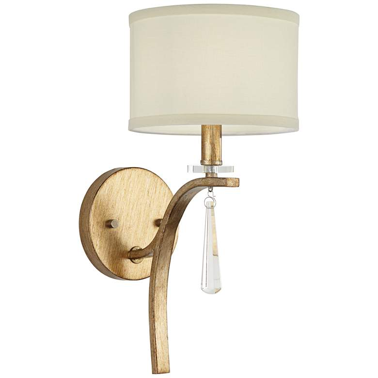 """Helaine 15 1/4"""" High Gold and White Linen Wall Sconce"""