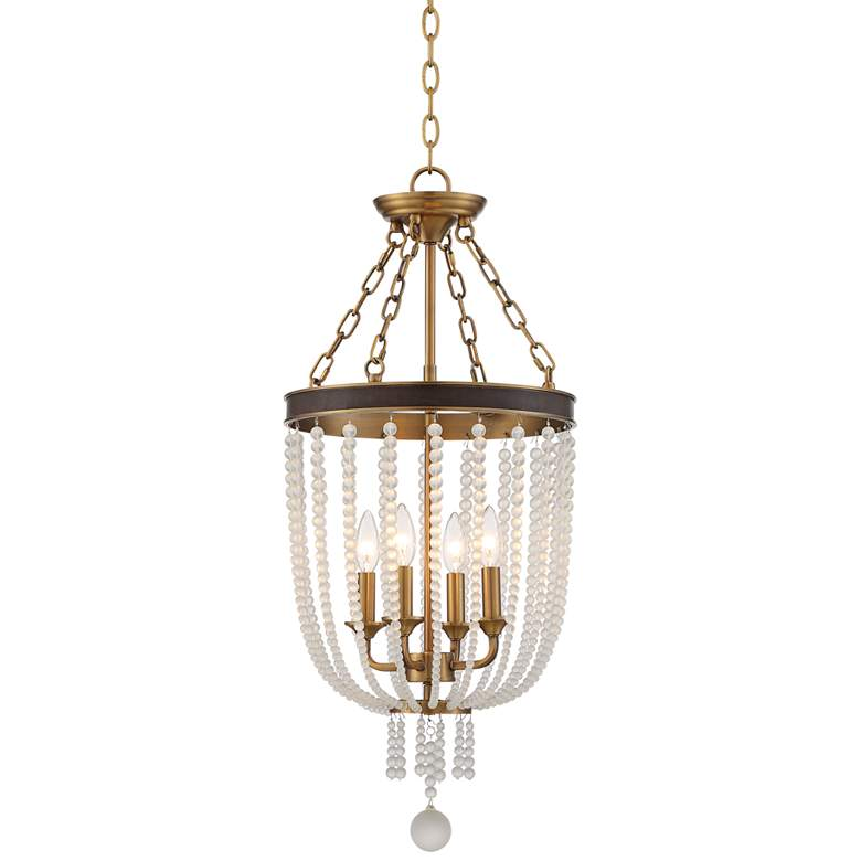 "Ava 14""W Warm Brass and Crystal 4-Light Foyer Pendant Light"