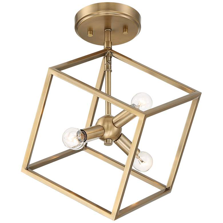 "Possini Euro Verrin 13 3/4""W Warm Brass Cube Ceiling Light"